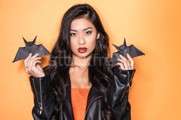 Kadın origami güzel Asya deri ceket Stok fotoğraf © LightFieldStudios