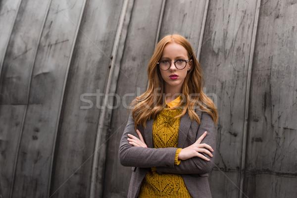 stylish girl in autumn outfit Stock photo © LightFieldStudios