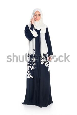 Muszlim nő beszél telefon boldog fiatal Stock fotó © LightFieldStudios