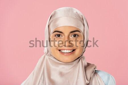 мусульманских женщину говорить телефон красивой молодые Сток-фото © LightFieldStudios