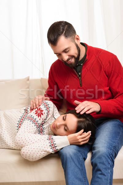 Meisje slapen vriendje mooie jonge vrouw glimlachend Stockfoto © LightFieldStudios