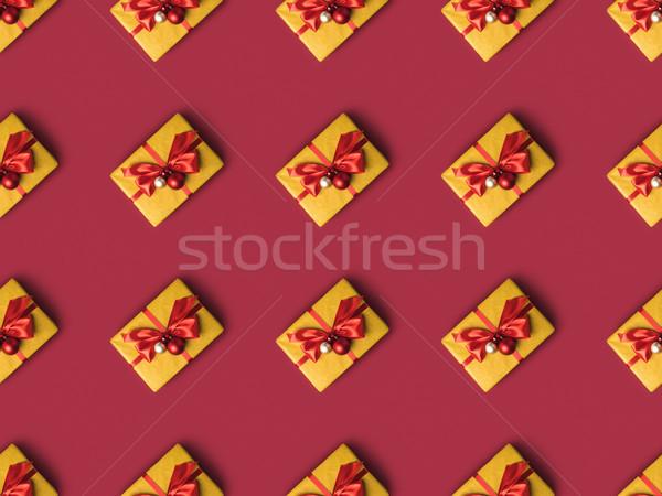 Presenta decorato Natale giocattoli full frame nastri Foto d'archivio © LightFieldStudios