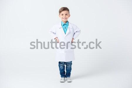 Stockfoto: Meisje · arts · kostuum · mooie · meisje · stethoscoop