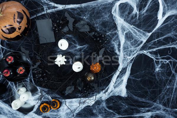 Halloween díszítések pókháló felső kilátás minitorták Stock fotó © LightFieldStudios