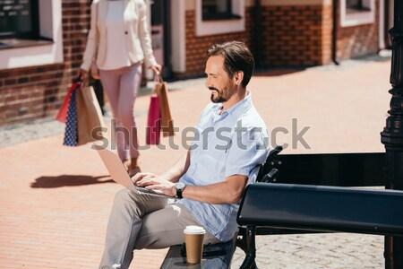 女性 男 椅子 若い女性 黒のドレス ストックフォト © LightFieldStudios