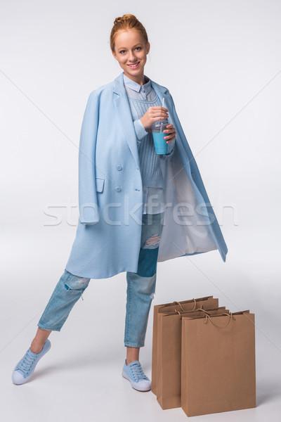 Elegante meisje stijlvol Blauw najaar Stockfoto © LightFieldStudios