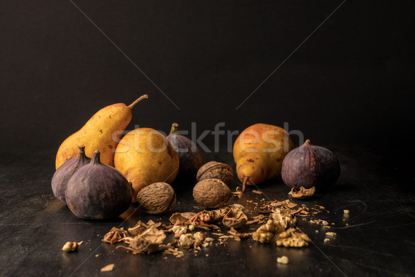 pears, figs and walnuts Stock photo © LightFieldStudios