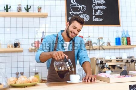 Barista tart kávé jóképű fiatal üveg Stock fotó © LightFieldStudios
