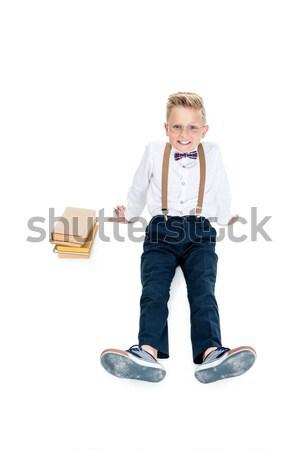 Vidám fiú könyvek magasról fotózva kilátás derűs kicsi Stock fotó © LightFieldStudios