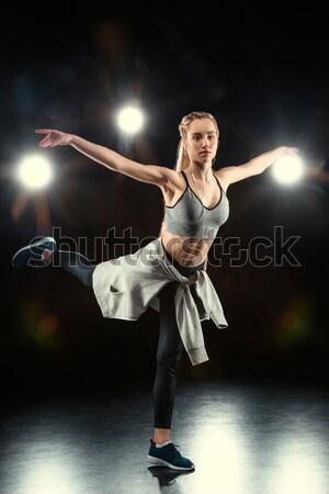 Ver de volta mulher dança preto menina esportes Foto stock © LightFieldStudios