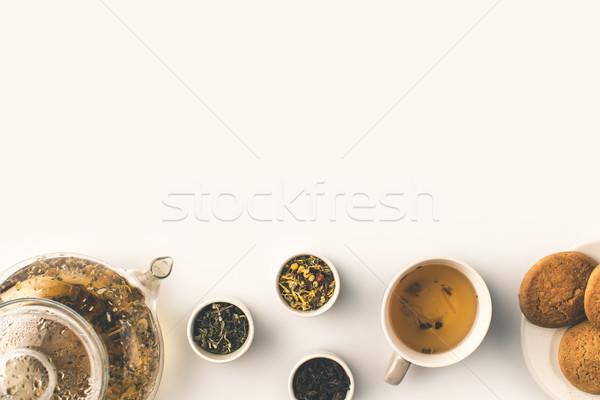 Foto d'archivio: Tisana · cookies · top · view · vetro · teiera