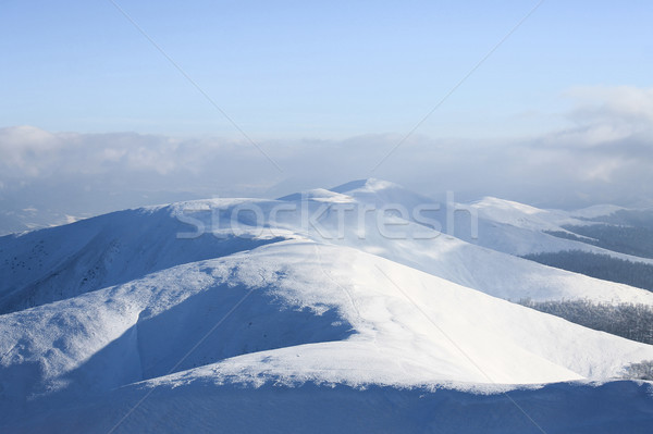 beautiful view on snowy mountains and cloudy sky, Borzhava valley, Carpathian Mountains, Ukraine Stock photo © LightFieldStudios