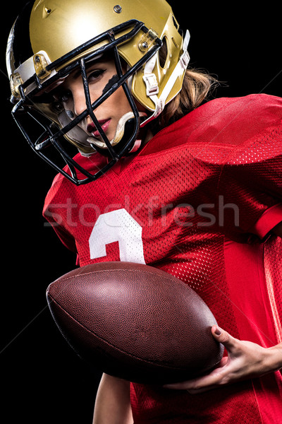 Női amerikai futballista sportruha gyönyörű sisak Stock fotó © LightFieldStudios