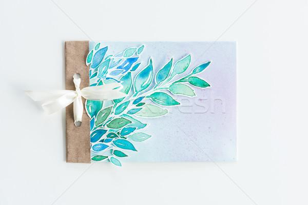 Top Ansicht Wasserfarbe Einladung Blätter Band Stock foto © LightFieldStudios