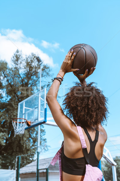 african-american throwing basketball Stock photo © LightFieldStudios