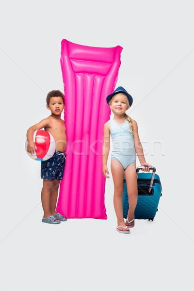 子供 スーツケース スイミング マットレス かわいい ストックフォト © LightFieldStudios