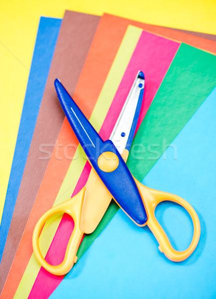 Nożyczki kolorowy papieru widoku tle Zdjęcia stock © LightFieldStudios
