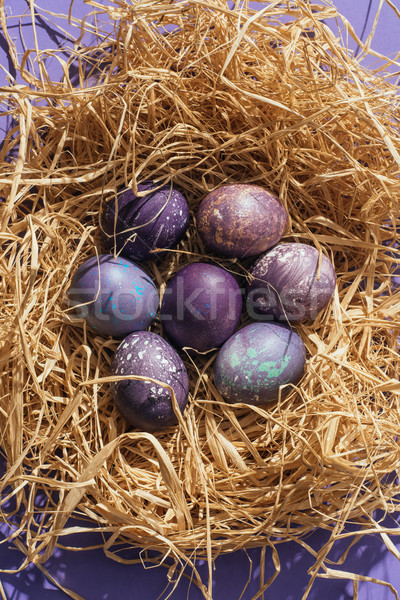 top view of traditional purple easter eggs in straw nest Stock photo © LightFieldStudios