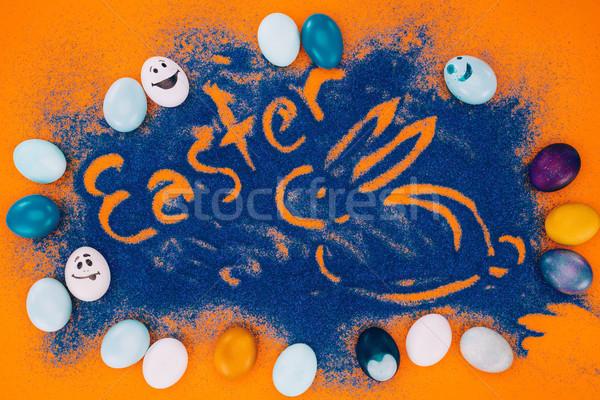 Top view Pasqua segno coniglio blu Foto d'archivio © LightFieldStudios