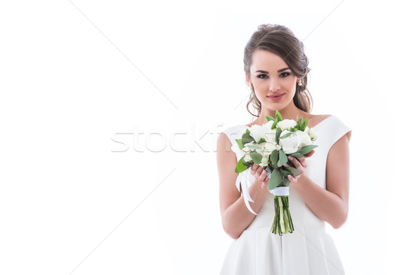 Brunette mariée posant isolé blanche Photo stock © LightFieldStudios