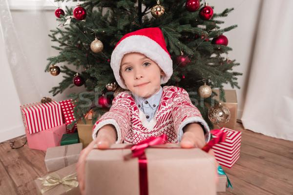 boy giving christmas present to camera Stock photo © LightFieldStudios