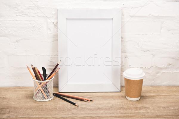 photo frame and coffee to go on table Stock photo © LightFieldStudios
