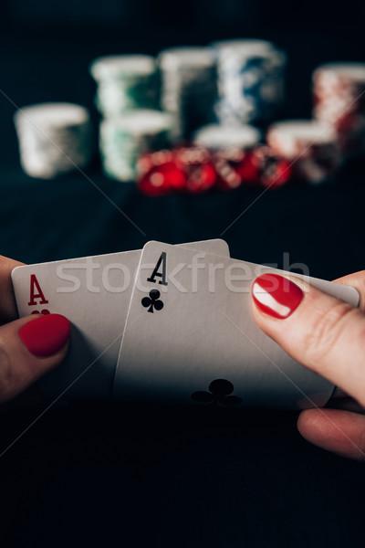 Foto stock: Mulher · jogar · pôquer · jogo · cassino · tabela
