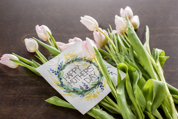 Mothers Day greeting card and flowers Stock photo © LightFieldStudios