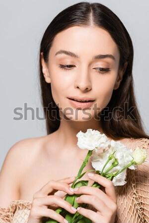 Mujer hermosa blanco lirios retrato tiro naturales Foto stock © LightFieldStudios