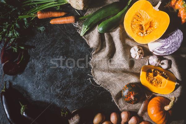 ripe vegetables on sackcloth Stock photo © LightFieldStudios