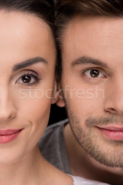 Sorrindo homem olhando preto mulher Foto stock © LightFieldStudios