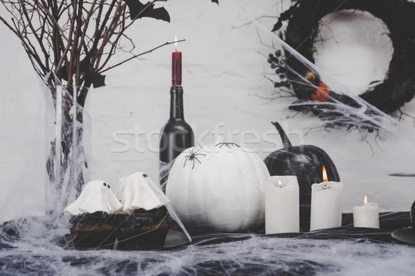 Zdjęcia stock: Halloween · dekoracje · duch · palenie · świece