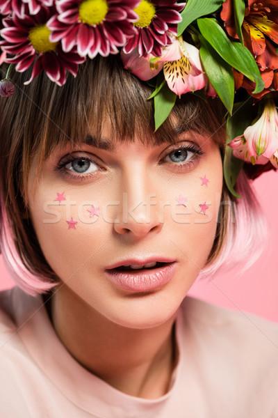 女性 星 顔 花 頭 若い女性 ストックフォト © LightFieldStudios