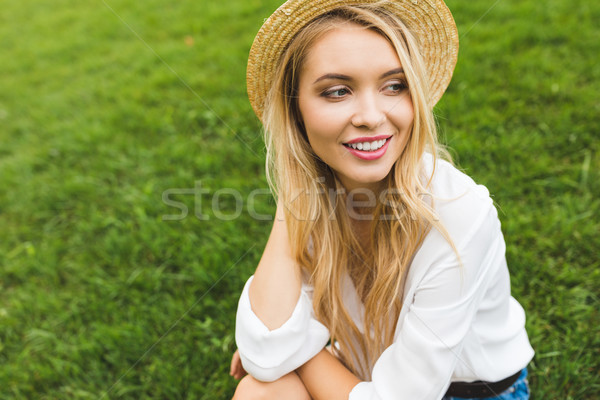 beautiful woman in straw hat Stock photo © LightFieldStudios