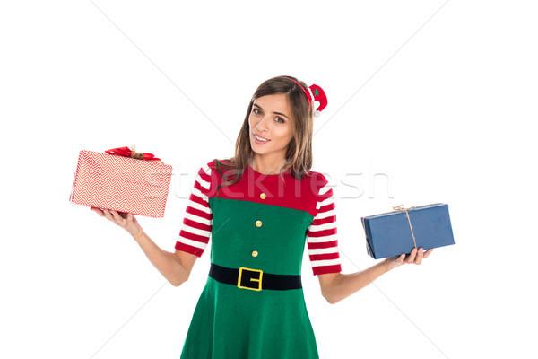 Mulher elfo traje presentes retrato mulher jovem Foto stock © LightFieldStudios