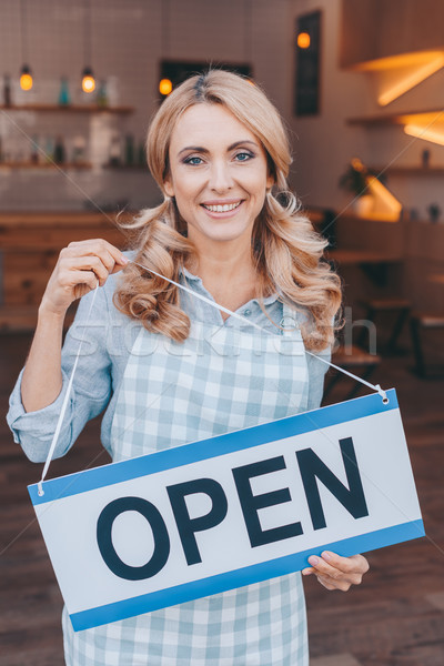 waitress with sign open Stock photo © LightFieldStudios
