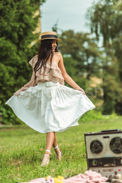happy girl in straw hat Stock photo © LightFieldStudios
