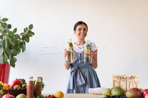 Nő detoxikáló italok portré derűs üveg Stock fotó © LightFieldStudios