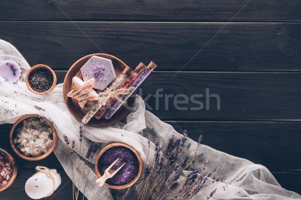 Terapi lavanta beyaz arka plan mum spa Stok fotoğraf © LightFieldStudios
