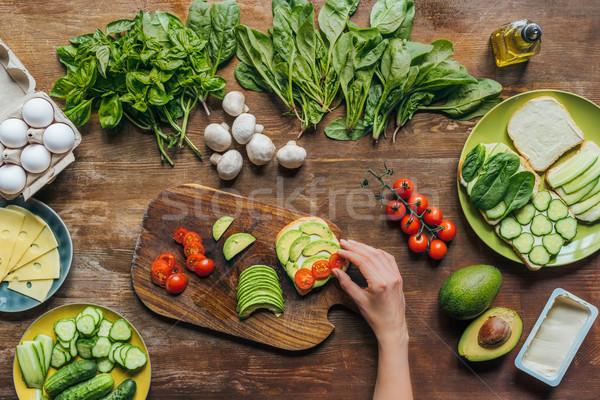 Stok fotoğraf: Kadın · kahvaltı · görmek · malzemeler