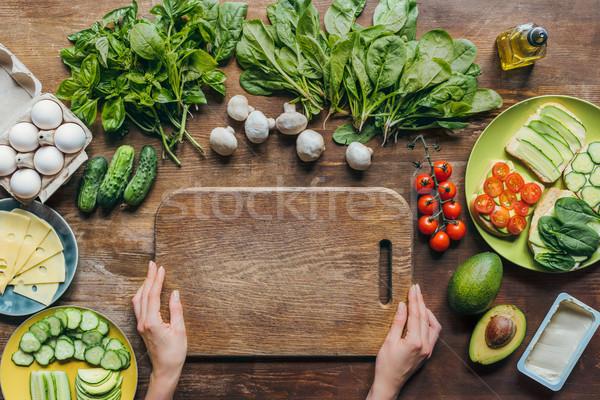 まな板 先頭 表示 女性 手 ストックフォト © LightFieldStudios
