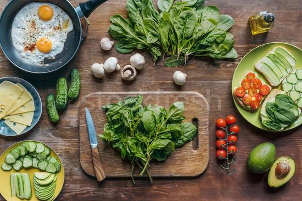 spinach and knife on cutting board Stock photo © LightFieldStudios