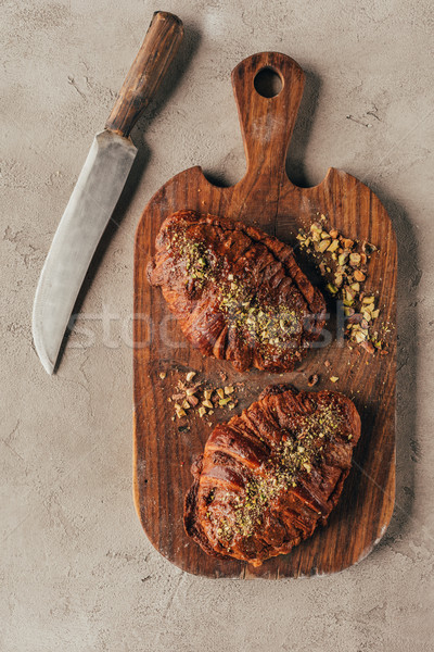 Haut vue croissants pistache Photo stock © LightFieldStudios