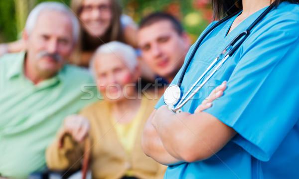 Stockfoto: Verzorger · familie · arts · gelukkig · gezin · medische · zorg · gezondheid