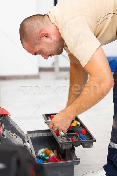 Foto stock: Handyman · ferramenta · saco · utensílios · homem