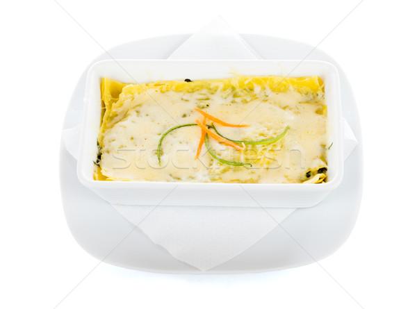 Lasagna servito piatto isolato bianco Foto d'archivio © Lighthunter