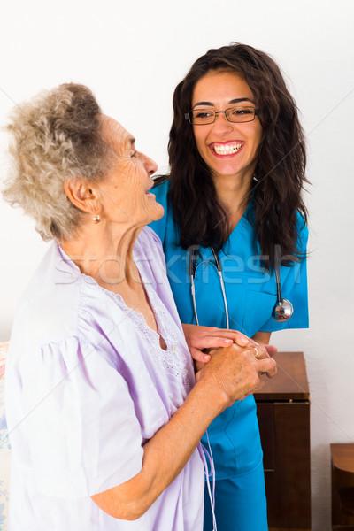 Stockfoto: Ouderen · ziekte · verpleeginrichting · glimlach