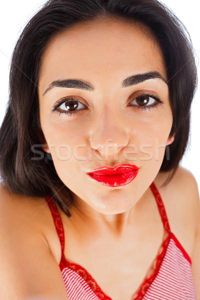 Kus brunette meisje zelfportret Stockfoto © Lighthunter