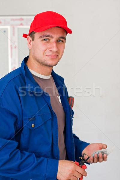 Elektricien portret hand tool man Stockfoto © Lighthunter