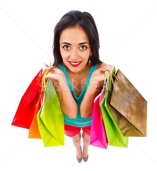 O melhor hoje mulher atraente sorridente amavelmente Foto stock © Lighthunter